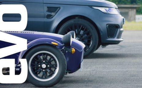 Range Rover Sport SVR v Caterham Seven 360R   evo drag races