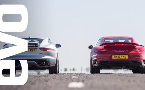 Jaguar F type R AWD vs Porsche 911 Turbo S - which is fastest? | evo DRAG BATTLE