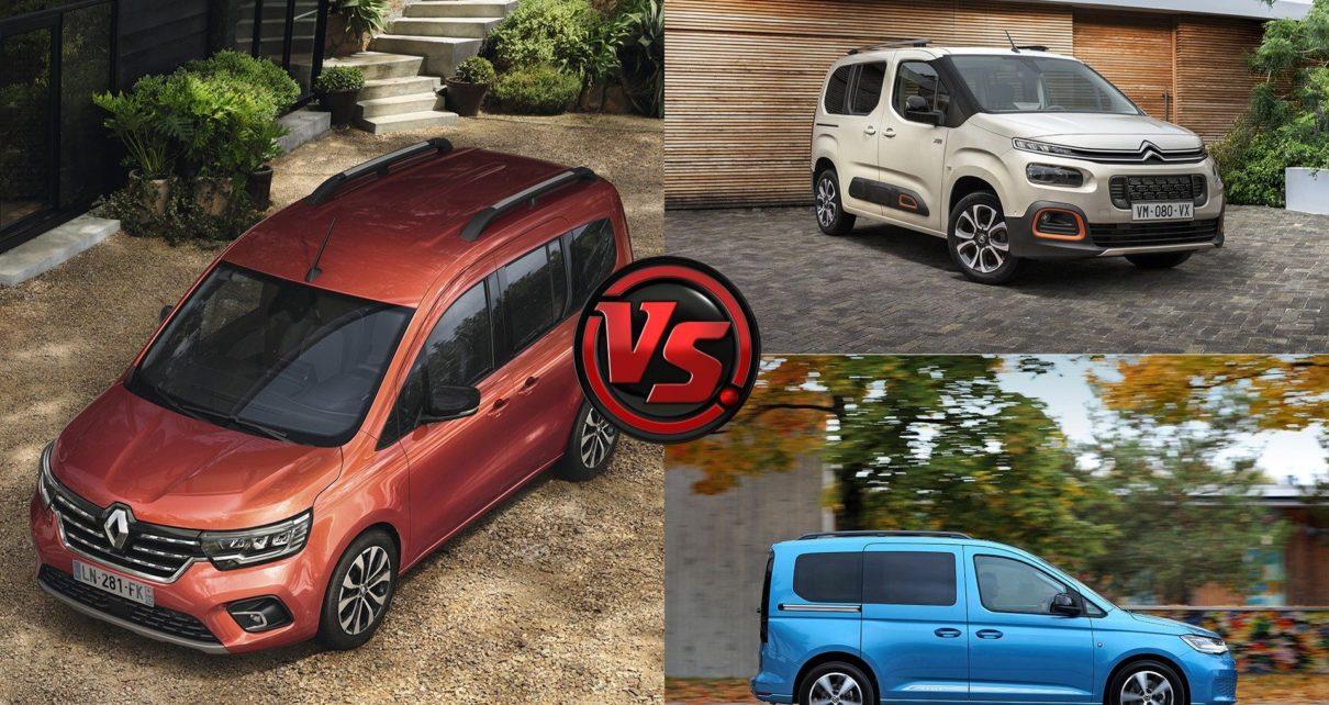 Comparatif du nouveau Renault Kangoo face aux Citroën Berlingo et Volkswagen Caddy